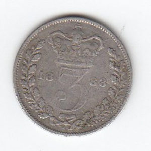1883 Queen Victoria Silver Threepence