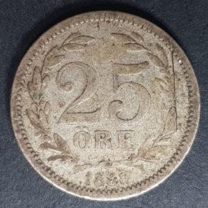 1885 Sweden Silver 25 Ore