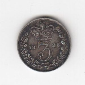 1886 Queen Victoria Silver Threepence