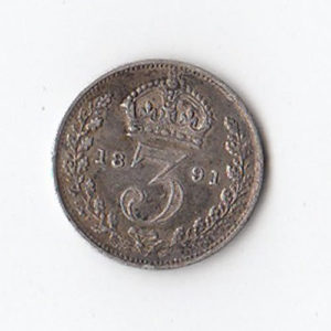 1891 Queen Victoria Silver Threepence