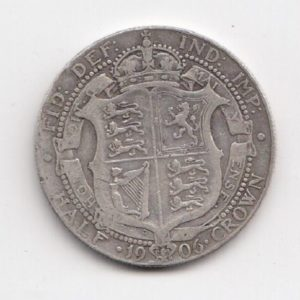 1906 King Edward VII Silver Half Crown