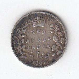 1907 India Silver Two Annas