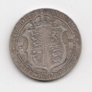 1909 King Edward VII Silver Half Crown