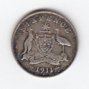 1911 Australia Silver Sixpence