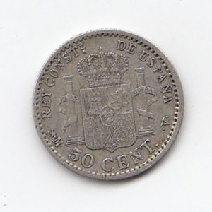 1904 Spain Silver 50 Cents
