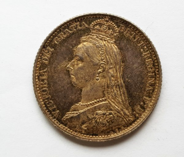 Obverse 1887 Queen Victoria Silver Sixpence