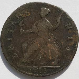 1773 King George III Half-Penny
