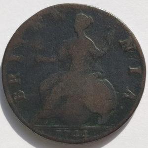 1744 King George Half Penny