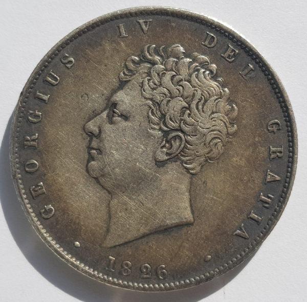 obverse 1826 King George IV Silver Half Crown