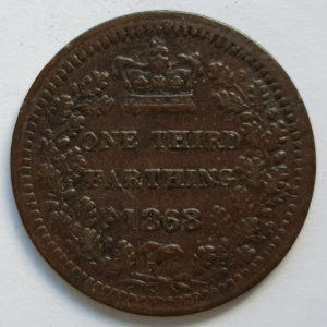 1868 Queen Victoria 1/3 Farthing
