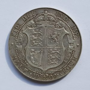 1909 King Edward VII Silver Half Crown