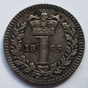 1865 Queen Victoria Silver Maundy 1d