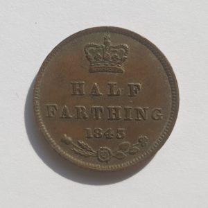 1843 Queen Victoria Half Farthing