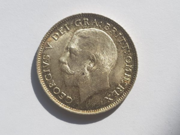 Obverse 1915 King George V Silver Sixpence