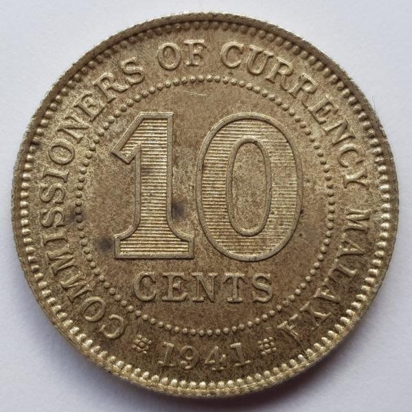 1941 Malaya Silver 10 Cents