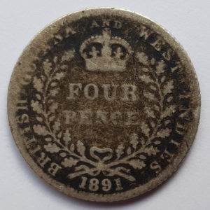 1891 Queen Victoria Silver Fourpence