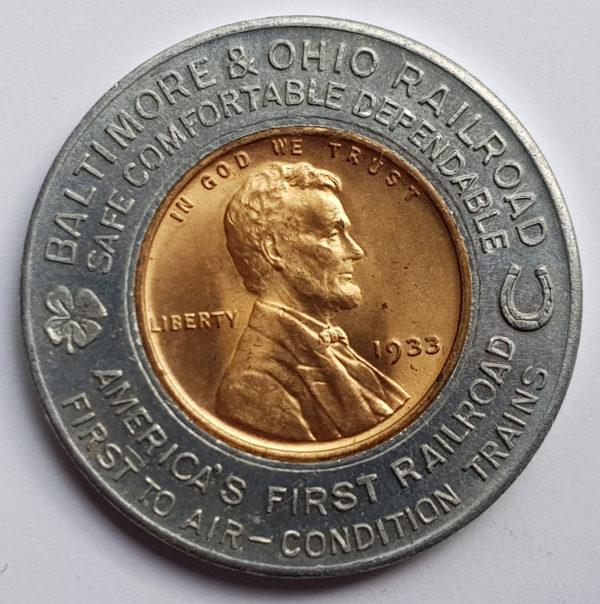 1933 United States One Cent Railway Token - Baltimore & Ohio