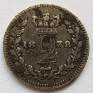 1838 Queen Victoria Silver Two Pence