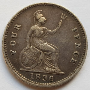 1836 King George IV Silver Fourpence