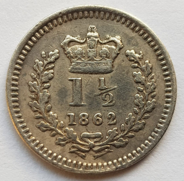 1862 Queen Victoria Maundy Silver 1 1/2 Penny