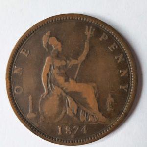 1874 Queen Victoria Penny