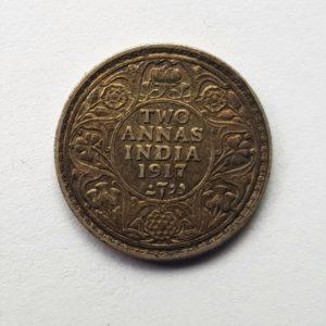 1917 India Silver Two Annas