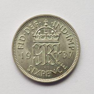 1937 King George VII Sixpence
