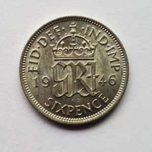 1946 King George VI Sixpence