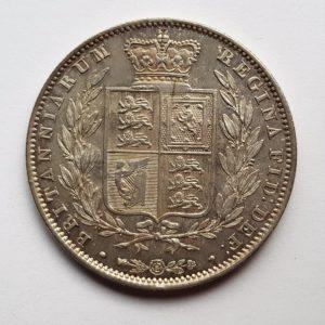 1842 Queen Victoria Silver Half Crown
