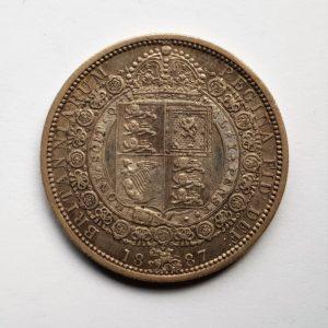 1887 Queen Victoria Silver Half Crown