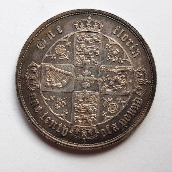 1852 Queen Victoria Silver Gothic Florin