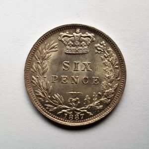 1887 Queen Victoria Silver Sixpence