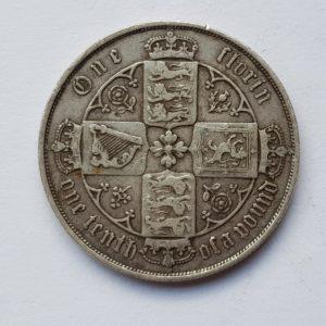 1875 Queen Victoria Silver Gothic Florin