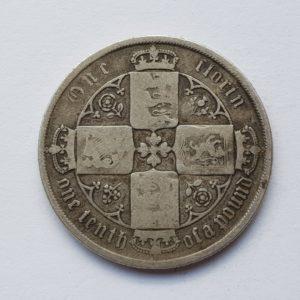1871 Queen Victoria Silver Gothic Florin