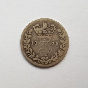 1859 Queen Victoria Silver Threepence
