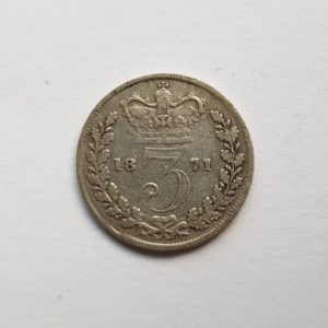 1871 Queen Victoria Silver Threepence