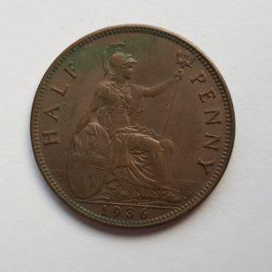 1835 King George V Half Penny
