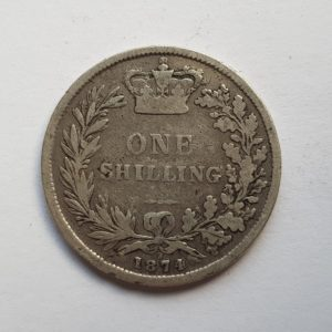 1874 Queen Victoria Silver Shilling