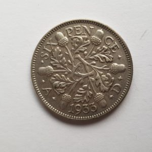 1933 King George V Silver Sixpence