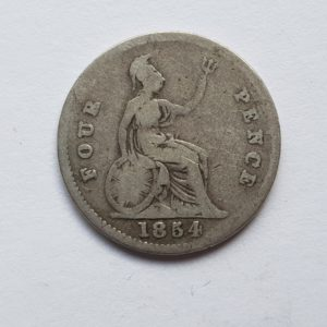 1854 Queen Victoria Silver Fourpence