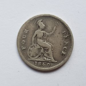 1840 Queen Victoria Silver Fourpence