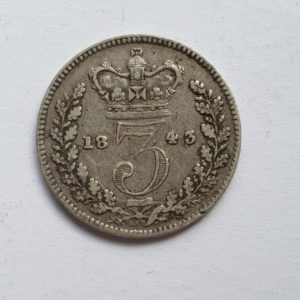 1843 Queen Victoria Silver Threepence