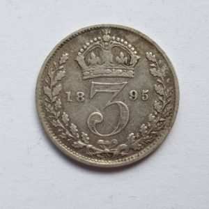 1895 Queen Victoria Silver Threepence