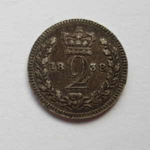 1838 Queen Victoria Silver Maundy Two Pence