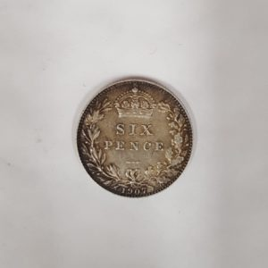 1907 King Edward VII Silver Six Pence