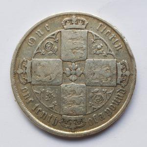 1870 Queen Victoria Silver Gothic Florin