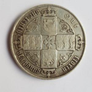 1879 Queen Victoria Silver Gothic Florin