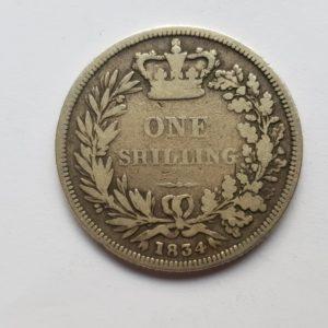 1834 Queen Victoria Silver Shilling
