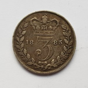 1885 Queen Victoria Silver Threepence