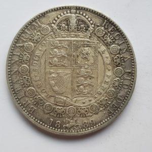 1889 Queen Victoria Silver Half Crown